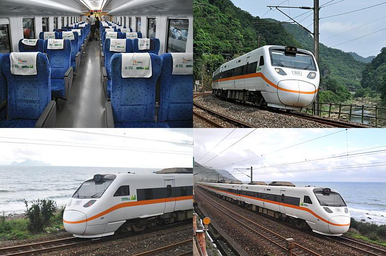 (左)亀山島とタロコ号(石城~大里)、(右)太平洋沿いを快走するタロコ... 台湾鐵路太魯閣號